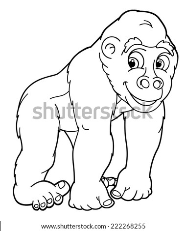Cartoon Animal Gorilla Caricature Coloring Page Stock Illustration