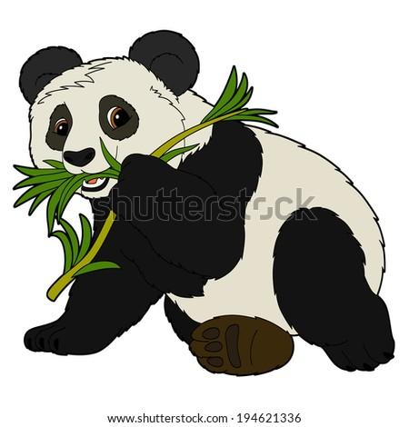 Cartoon animal - panda - flat coloring style -  illustration for the children - stock photo