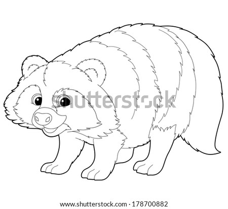 cartoon animal raccoon coloring page illustration for the children - Racoon Coloring Page