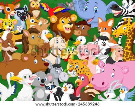 Cartoon animals - stock photo