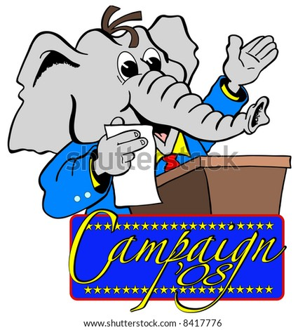 cartoon art of republican elephant giving speech at podium. Banner below says campaign '08 - stock photo