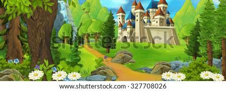 Cartoon background for fairy tales - illustration for the children - stock photo
