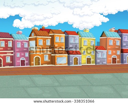 Cartoon background- illustration for the children - stock photo