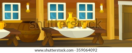 Cartoon background of interior of an old wooden house - illustration for the children - stock photo