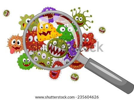 Cartoon bacteria under a magnifying glass - stock photo