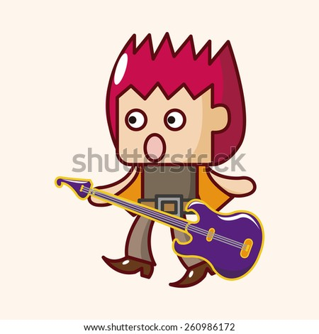 cartoon band member guitar player  - stock photo