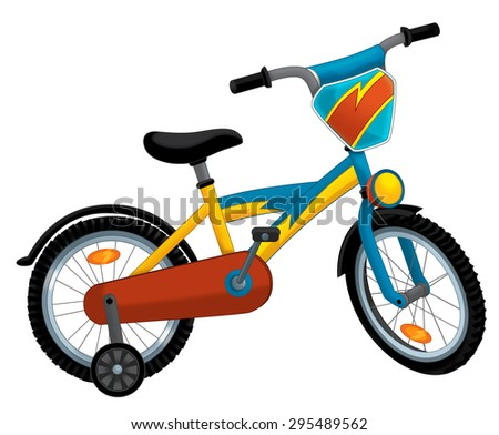 Cartoon bicycle - illustration for the children - stock photo