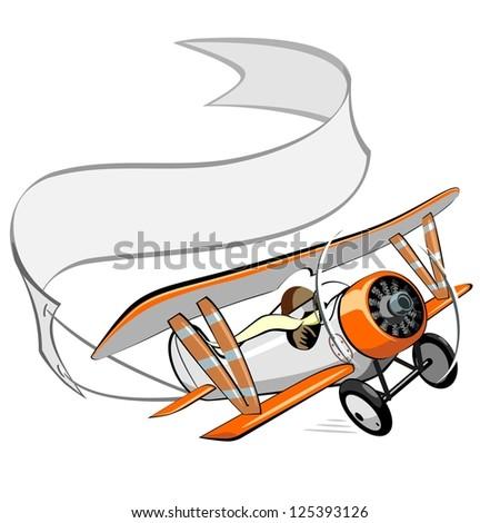 cartoon biplane with blank banner. Vector version see in my portfolio - stock photo