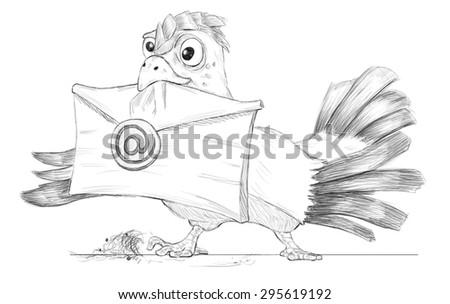 cartoon bird(post pigeon) with e-mail (metaphor, fun) - stock photo