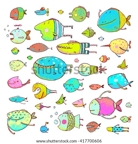 Cartoon Bizarre Fish Collection for Kids Hand Drawn. Fun cartoon hand drawn queer fish for children design illustrations set. Pencil style. Raster variant. - stock photo