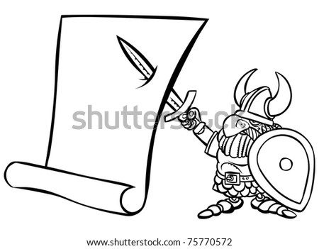 Cartoon black and white viking warrior with a scroll. - stock photo