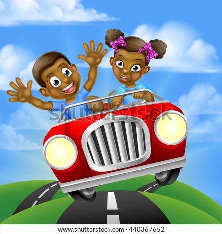 Cartoon black boy and girl having fun driving fast in a car on a road trip
