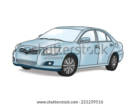 Cartoon blue car  isolated over white background.