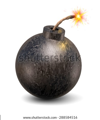 cartoon bomb 3d illustration - stock photo