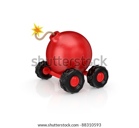 Cartoon bomb on wheels.Isolated on white background.3d rendered. - stock photo