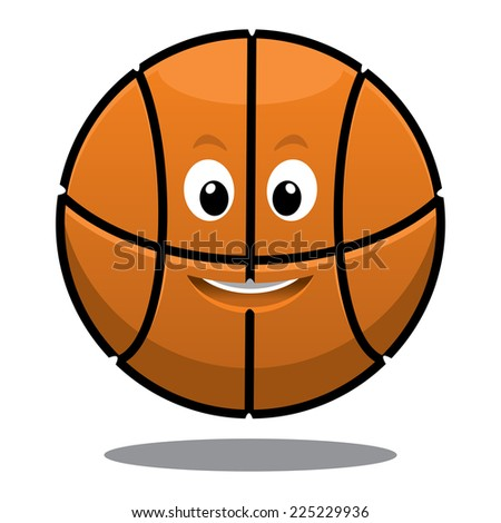 Cartoon bouncing happy brown basketball ball with a cute smile and shadow below - stock photo