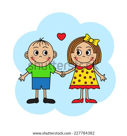 Cartoon boy and girl in love holding hands - stock photo