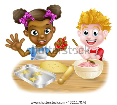 Cartoon boy and girl kids, one black one white, dressed as bakers baking cakes and cookies - stock photo