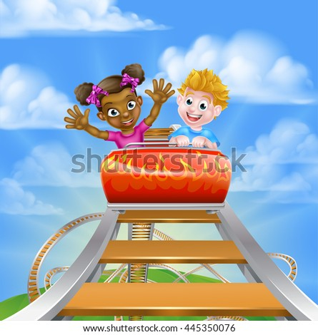 Cartoon boy and girl kids riding on a roller coaster ride at a theme park or amusement park