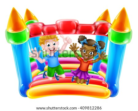 Cartoon boy and girl playing on a bouncy castle  - stock photo
