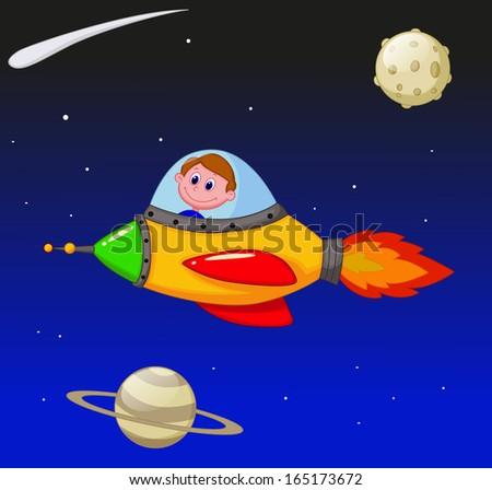 Cartoon boy astronaut in the spaceship - stock photo