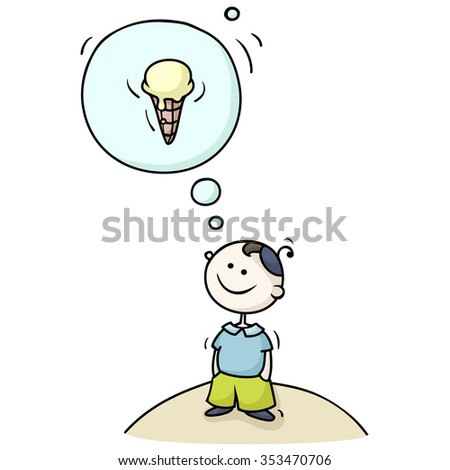 Cartoon boy dreaming with a thought bubble. Cute kid fantasizing about ice-cream. Hand-drawn illustration isolated on white. - stock photo