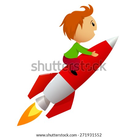Cartoon boy fly riding red fast rocket isolated on white - stock photo