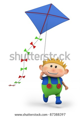 cartoon boy flying a kite -  high quality 3d illustration - stock photo