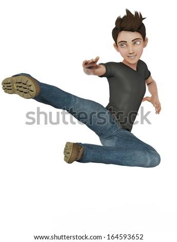 cartoon boy karate jump - stock photo