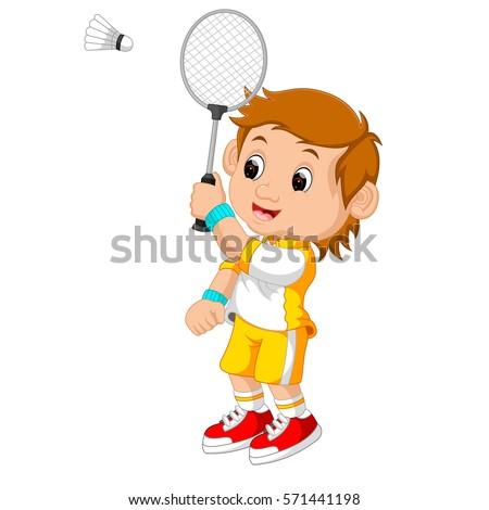 Anime Girl Playing Badminton