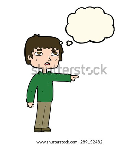 cartoon boy pointing with thought bubble - stock photo