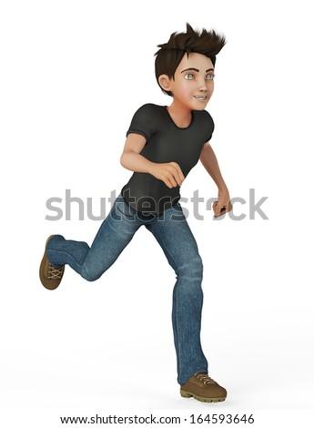 cartoon boy running - stock photo