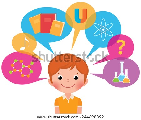 Cartoon boy student different sciences/Child learns/Vector illustration does not contain transparency - stock photo