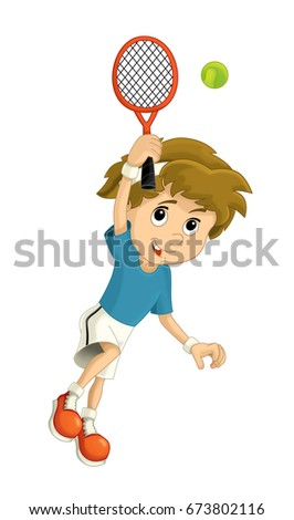 Cartoon boy - tennis player training - isolated  illustration for children