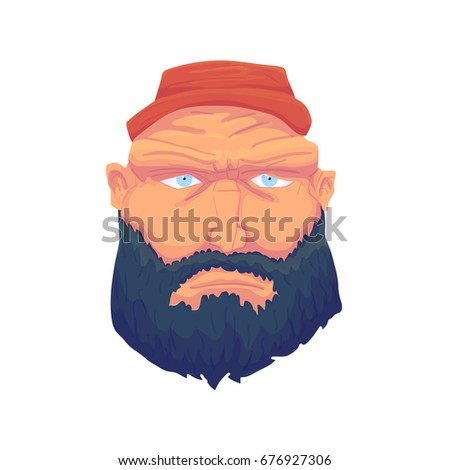 Cartoon Brutal Man Face with Beard and Red Hat. illustration