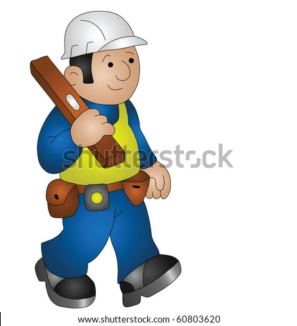 Cartoon builder wearing personal protection equipment for health and safety - stock photo