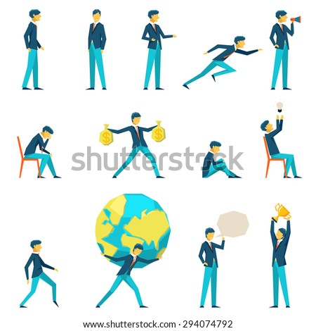 Cartoon businessman character in various poses. Motivation and inspiration, thinking and earnings - stock photo
