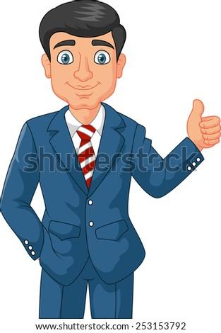 Cartoon businessman giving thumbs up - stock photo