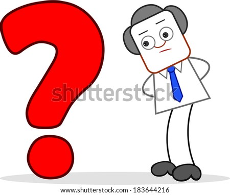 Cartoon Businessman Standing and Looking to Question Mark. - stock photo