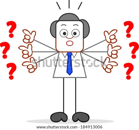 Cartoon businessman standing and showing question marks. - stock photo