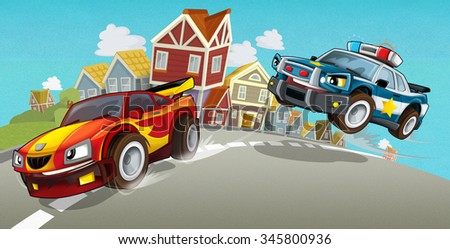 Cartoon car chase - illustration for the children - stock photo