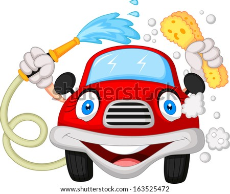 Cartoon car washing with water pipe and sponge  - stock photo