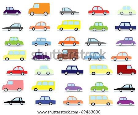 cartoon cars on a white background - stock photo
