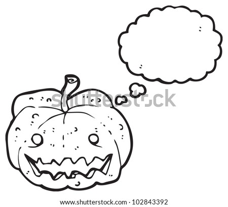 cartoon carved pumpkin with thought bubble