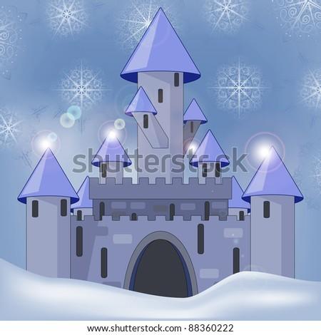 Cartoon Castle Green Hill Stock Photos, Illustrations, and Vector Art
