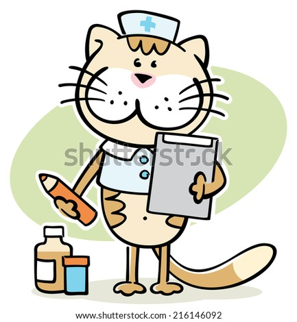Cat On Crutches Stock Illustration 7021516 Shutterstock