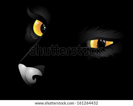 Cartoon cat with yellow eyes on black background. - stock photo