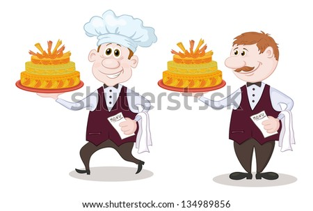 Cartoon character cook and waiter with sweet holiday cake, isolated on white background. - stock photo