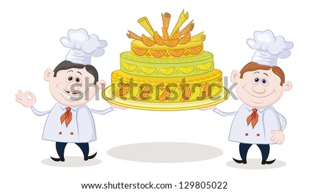 Cartoon character cooks - chefs with sweet holiday cake, isolated on white background. - stock photo