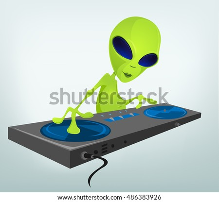Cartoon Character Funny Alien Isolated on Grey Gradient Background. DJ.